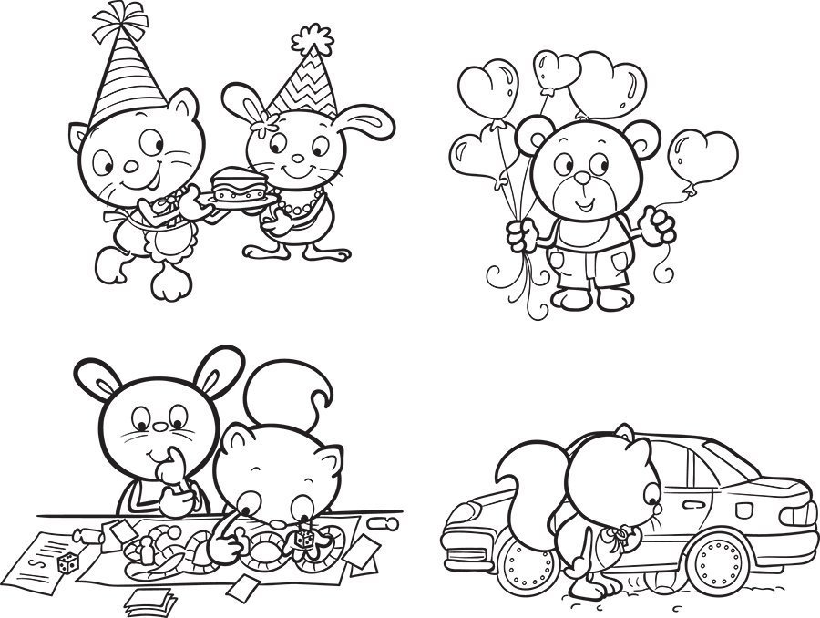 kids line art